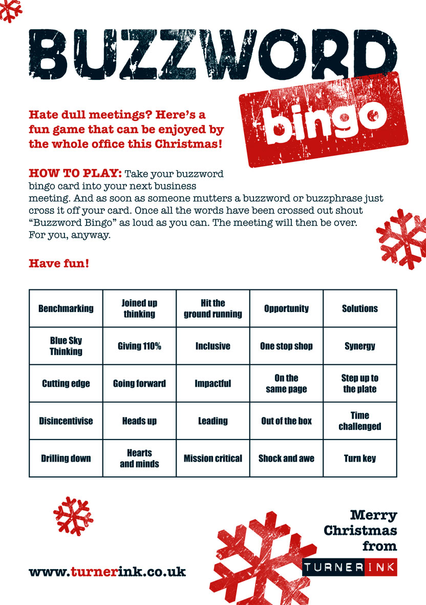 Buzzword Bingo Christmas card from Turner Ink