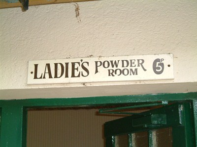 Ladies powder room sign