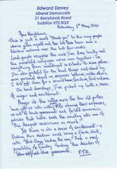 Ed Davey MP letter